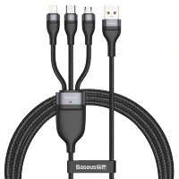 Кабель Baseus Flash One-for-three micro USB+Lightning+Type-C 5A 1.2м Черно-Серый