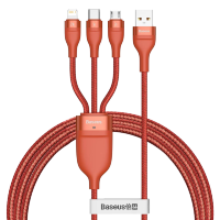 Кабель Baseus Flash One-for-three micro USB+Lightning+Type-C 5A 1.2м Оранжевый